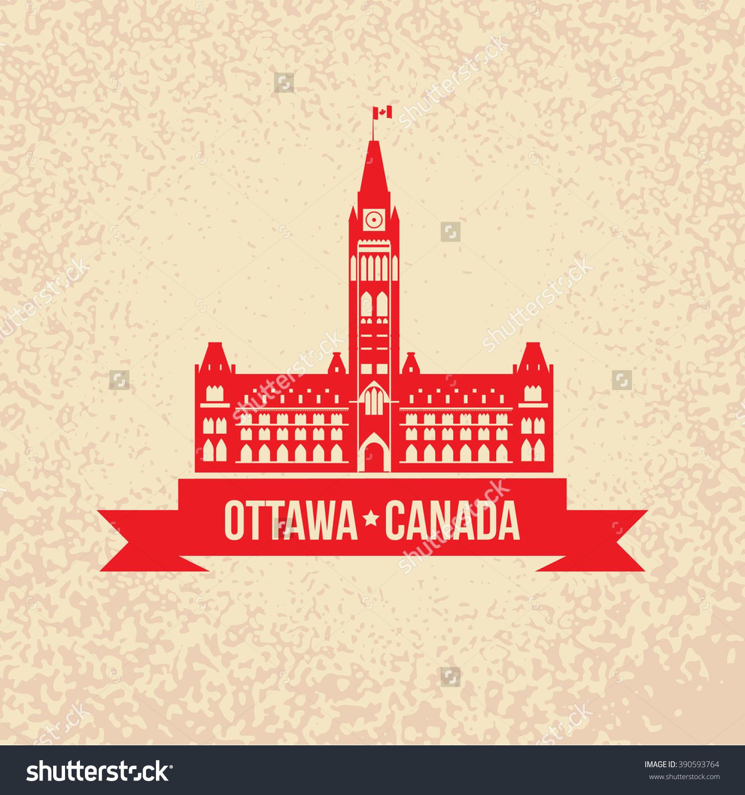 Peace Tower Symbol Canada Silhouette Government Stock Vector.