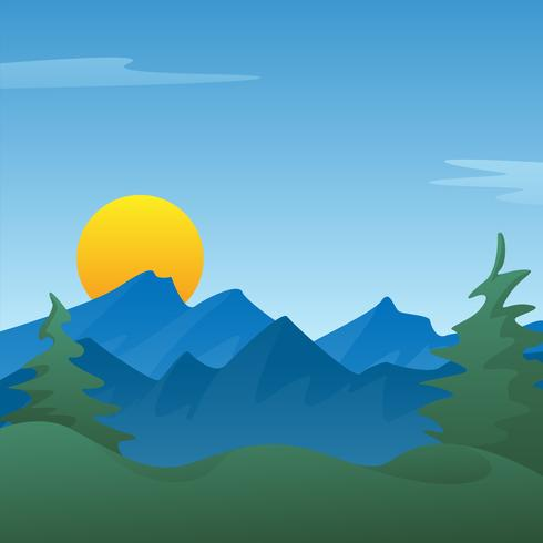 Peaceful blue mountain landscape scene background with pine.