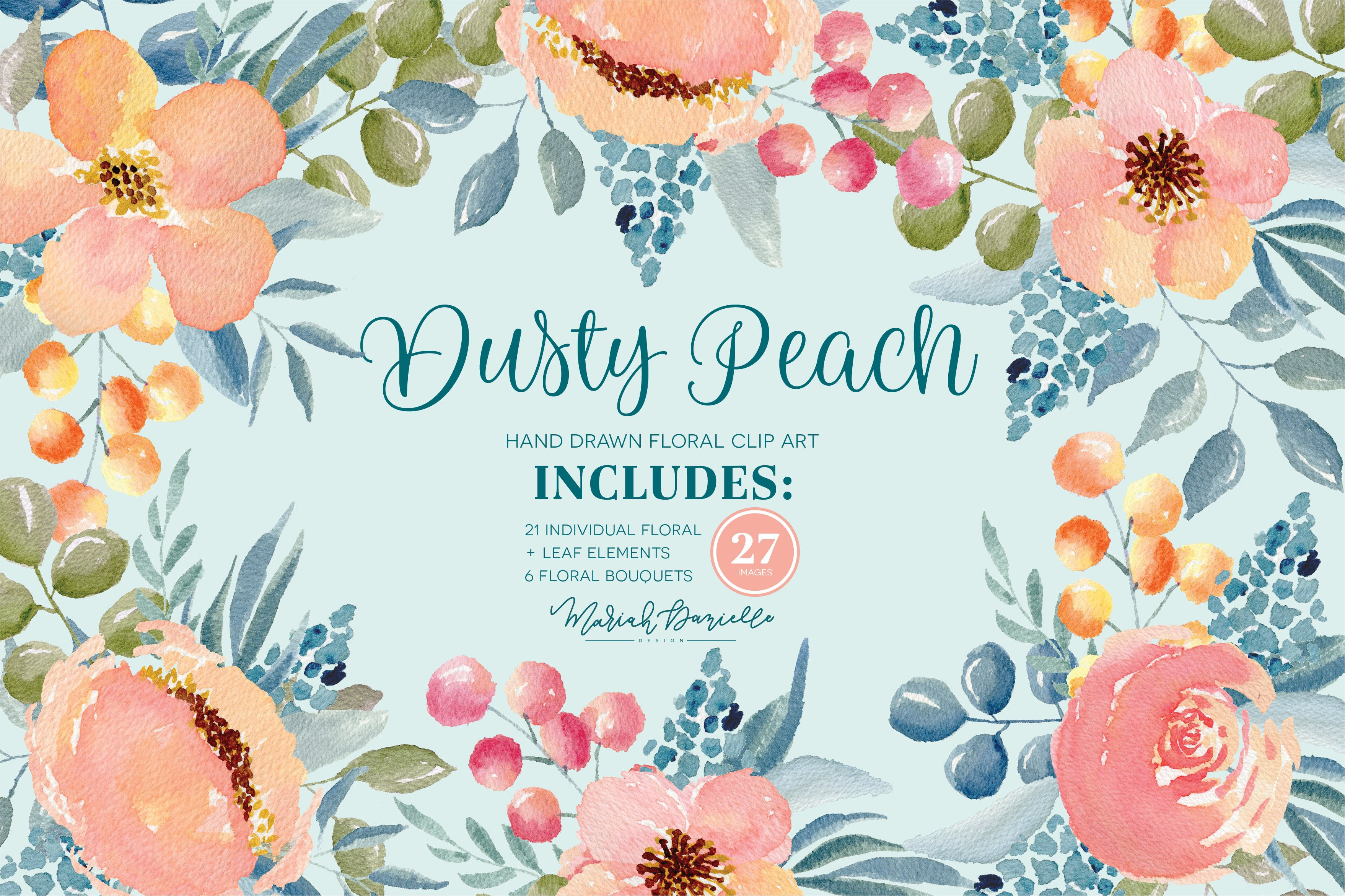 Dusty Peach Floral Clipart Set.