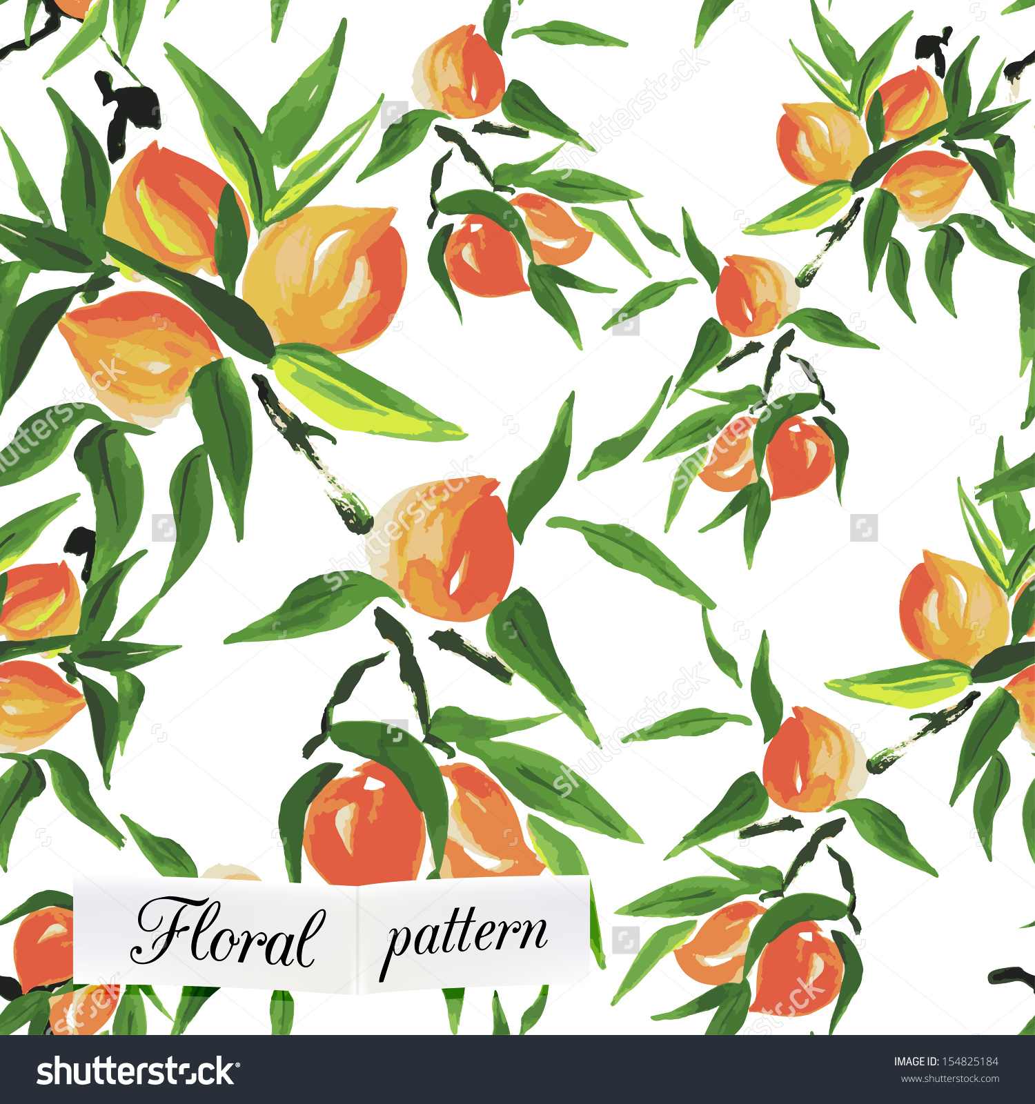 Watercolor Peach Seamless Pattern Can Be Stock Vector 154825184.