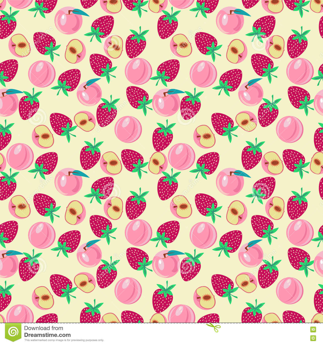 Cute Pattern With Peach And Strawberries Stock Vector.