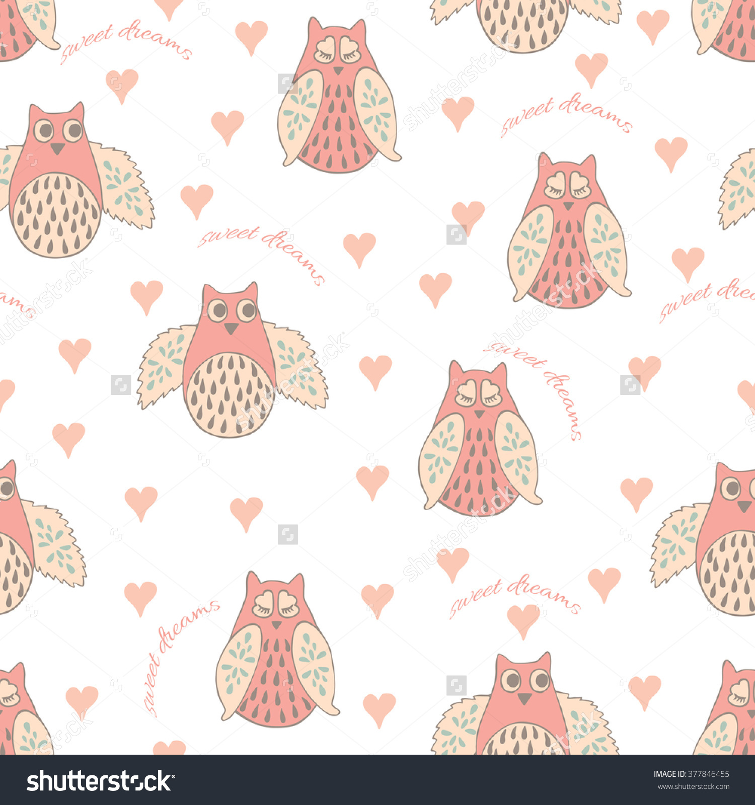 Seamless Pattern With Pastel Hand Drawn Cute Owls And Hearts.