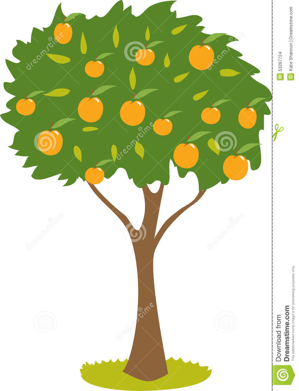 Peach Tree Stock Vector.