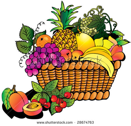 Gallery For > Basket of Peaches Clipart Turned Over.