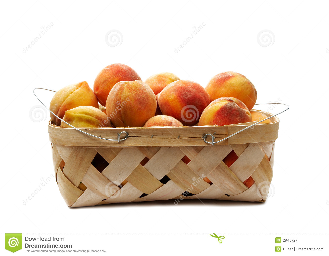 Basket Of Peaches Clipart.