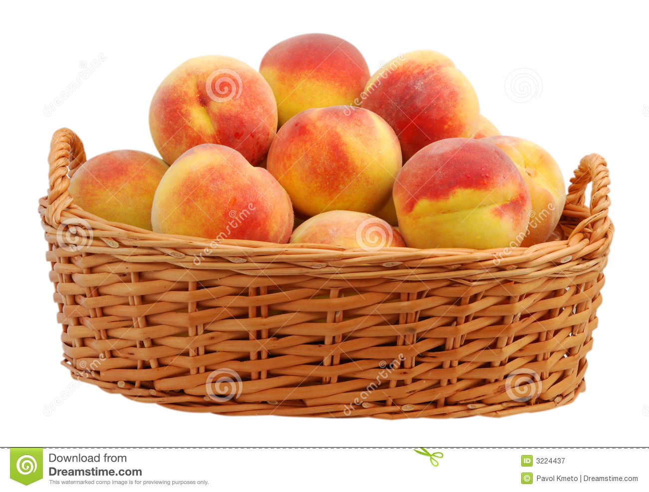Peach In Basket Royalty Free Stock Photography.