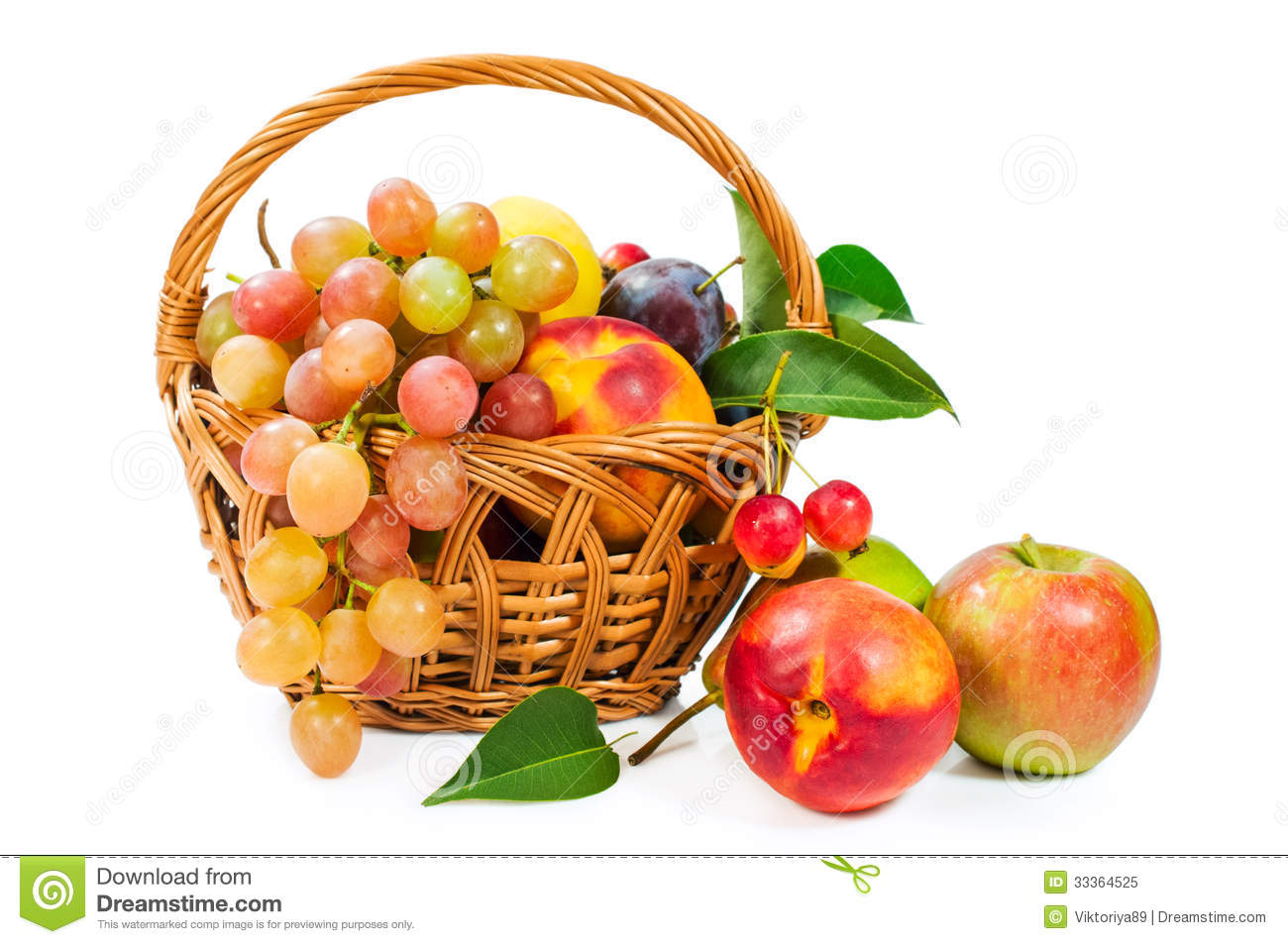Basket Of Fruit : Apples , Grapes , Peaches And Plums Royalty Free.