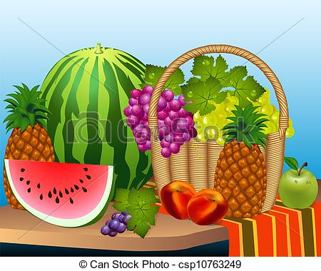 EPS Vector of basket and fruits watermelon grape peaches.