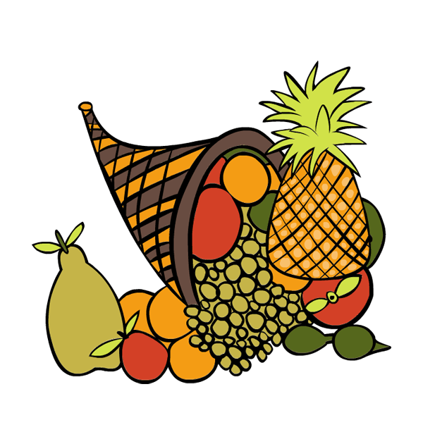 clip art thanksgiving fruits grapes pineapple guava peach orange.