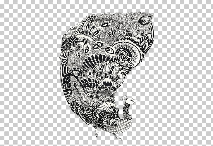 Black and white Drawing Line art, Black and white decorative.