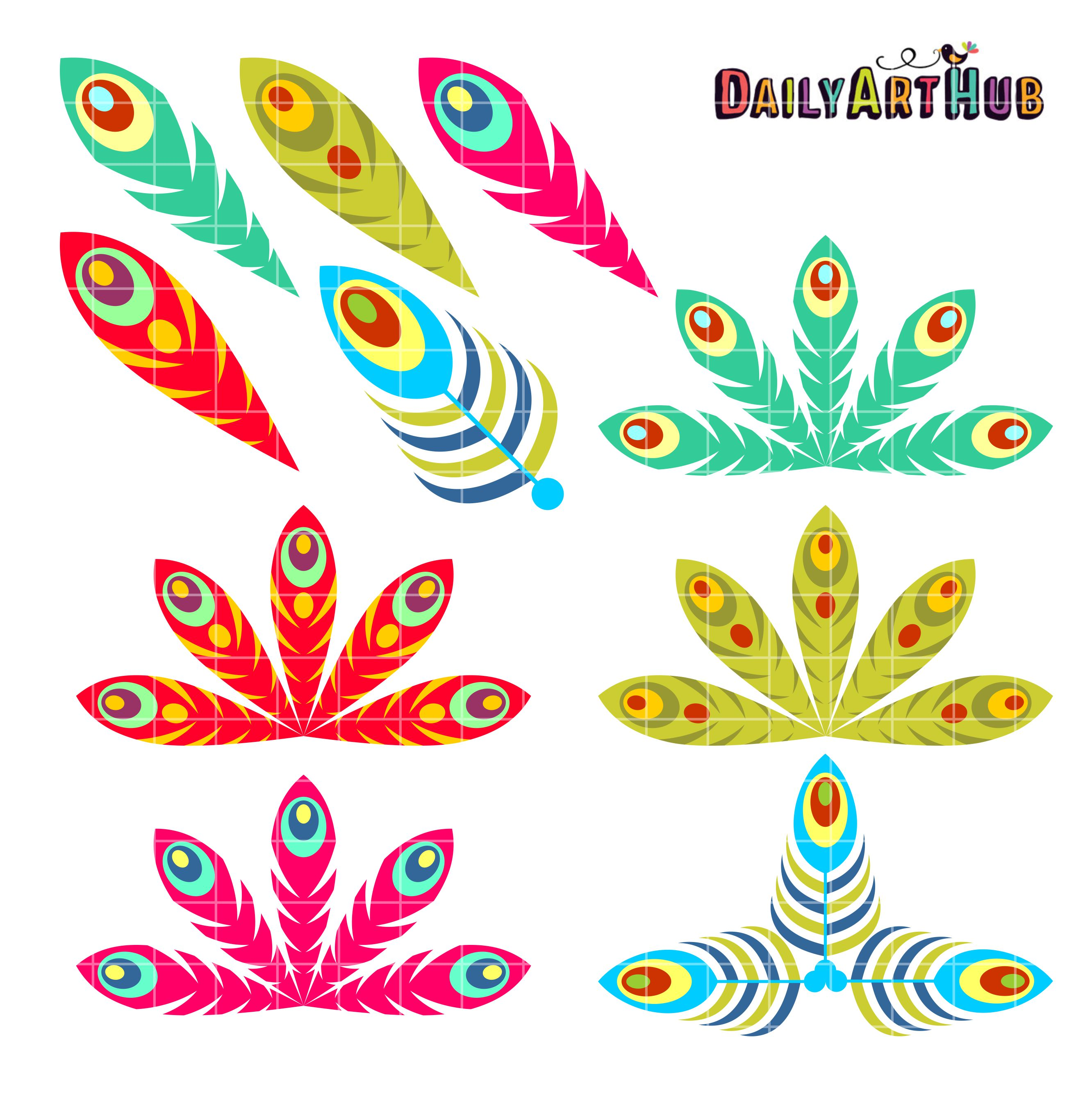 FREE Peacock Feathers Clip Art Set.