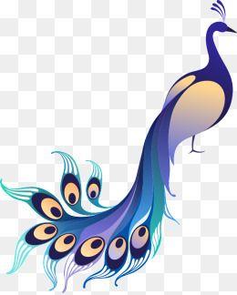 Vector Gradient Blue Peacock, Peacock Clipart, Cartoon.