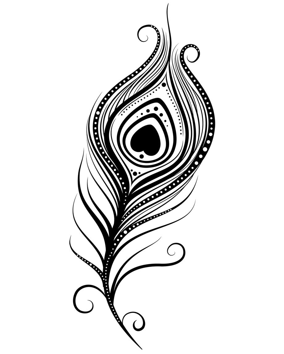 Peacock Feather Coloring Page.