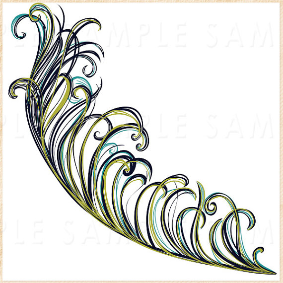 Peacock Feather ClipArt, Feather Illustration, DIY Invitation.