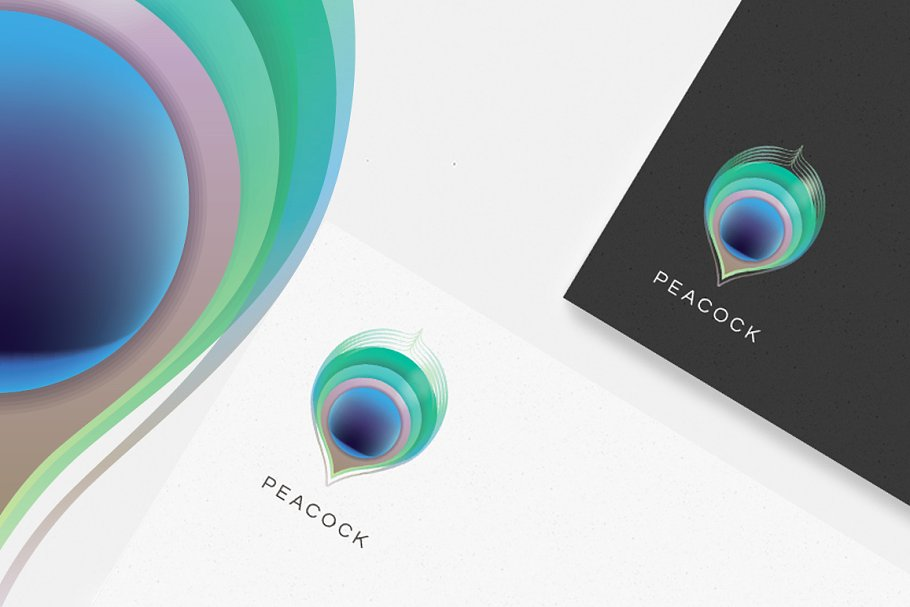Peacock feather logo ~ Logo Templates ~ Creative Market.