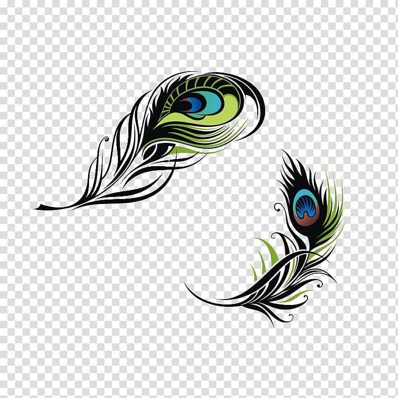 Black, green, and brown floral , Bird Feather Peafowl.