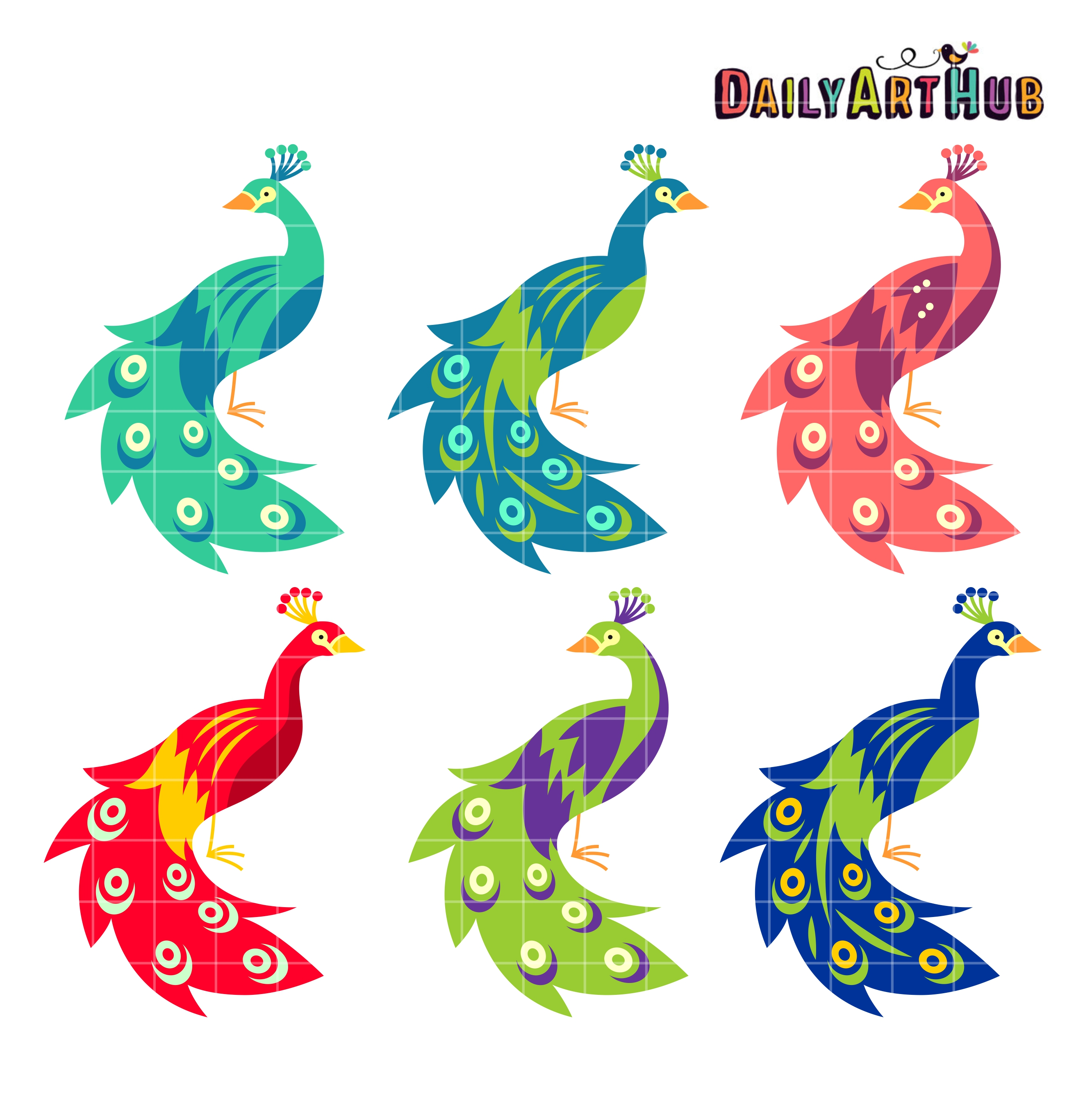 Peacocks Clip Art Set.