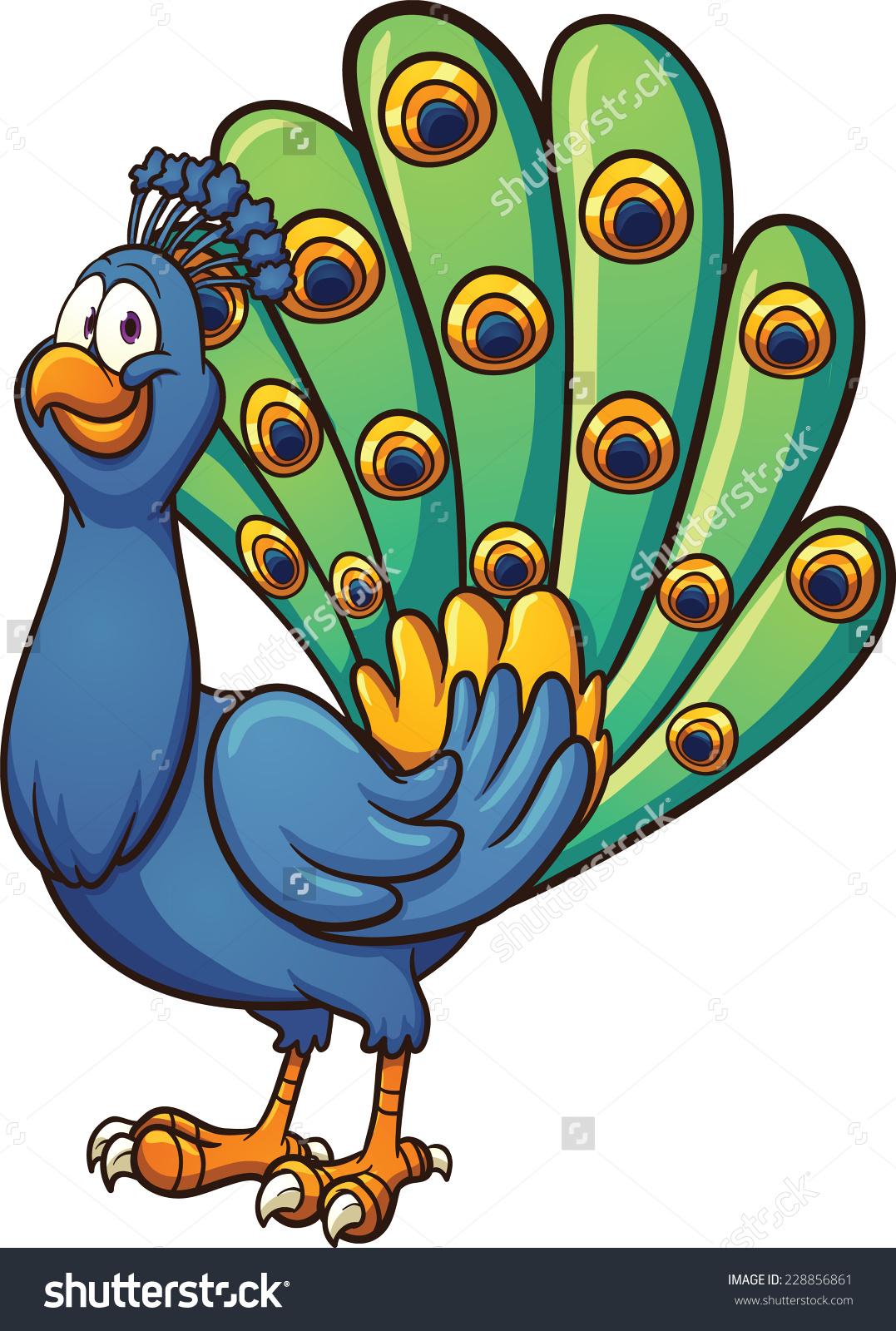 Peacock colour clipart.