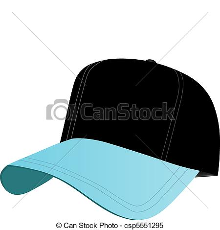 Clipart Vector of Black and Blue Baseball Cap.
