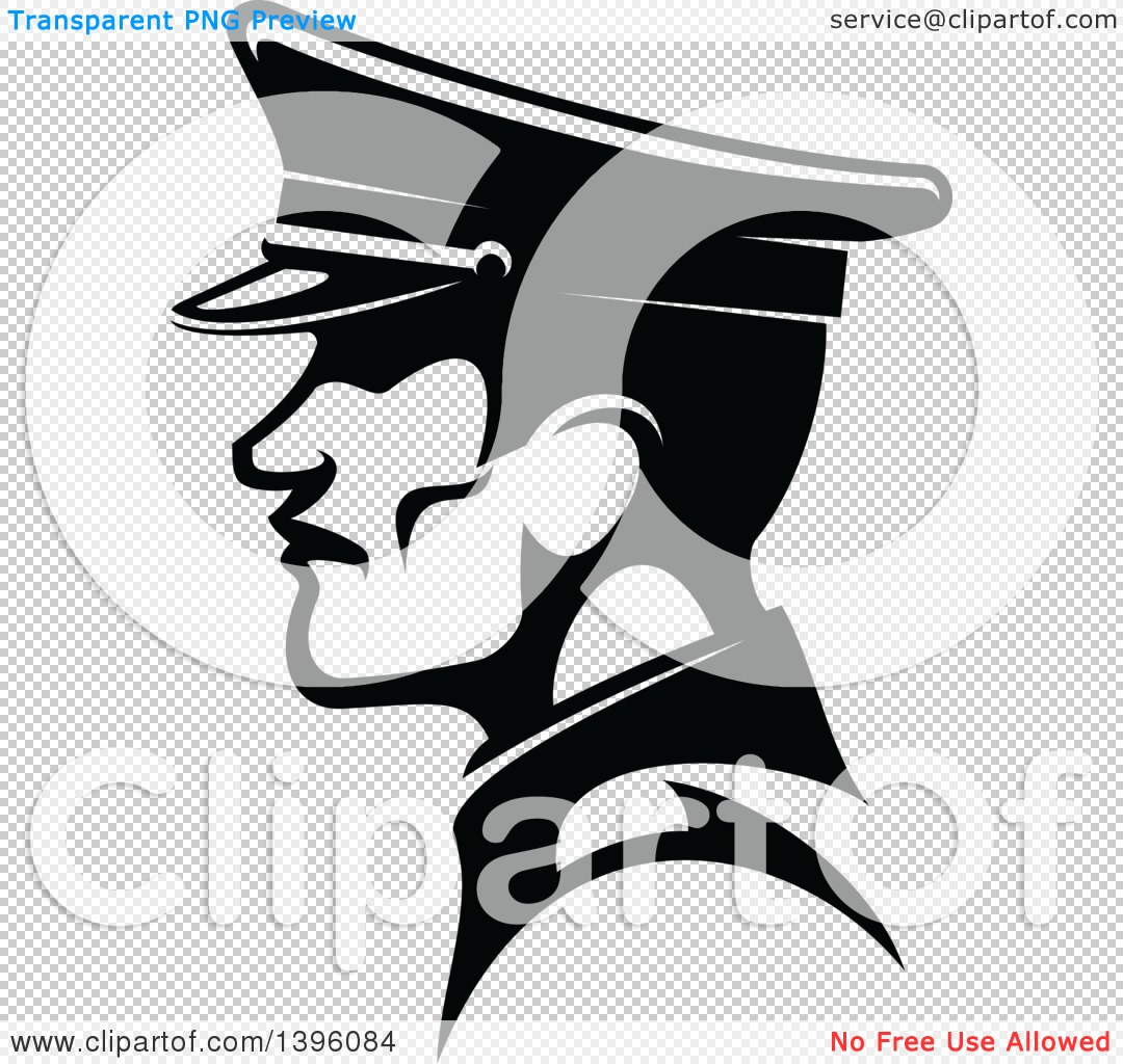 Clipart of a Black and White Profiled German Soldier in a Peaked.