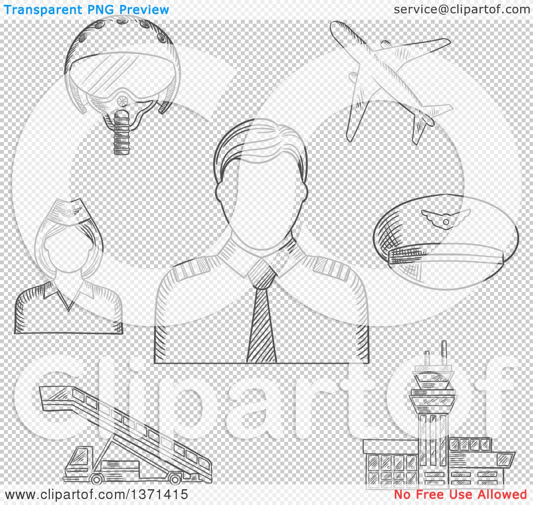 Clipart of a Black and White Sketched Pilot in Uniform Surrounded.