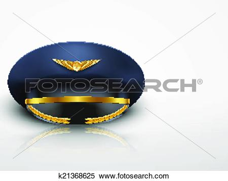 Clipart of Light Background Aviator Peaked cap of the pilot.