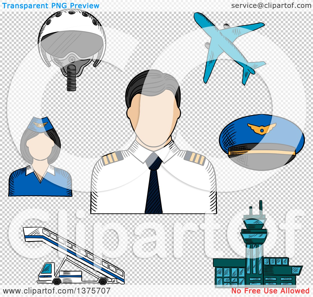 Clipart of a Sketched Pilot Surrounded by Stewardess, Airplane.