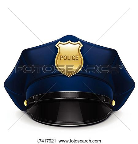 Clipart of police peaked cap with cockade k7417921.