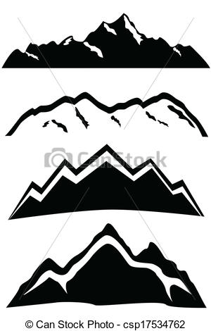 Clip Art Vector of Mountain peaks landscapes with snow csp17534762.
