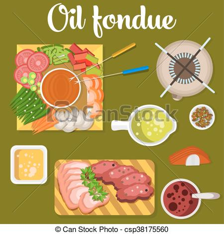 Clip Art Vector of Oil fondue with meat and vegetables like carrot.
