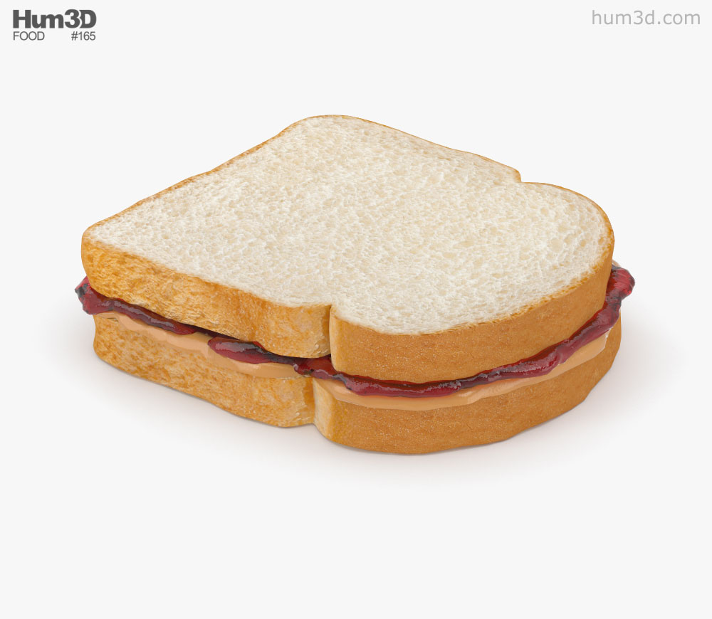 Peanut Butter And Jelly Sandwich 3D model.