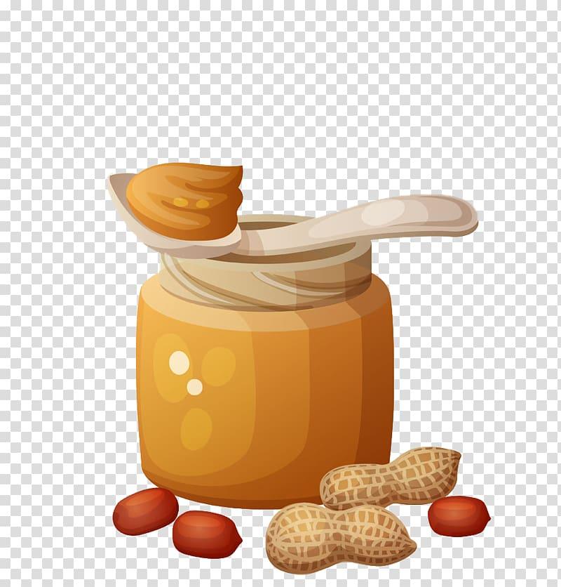 Five brown peanuts , Peanut butter and jelly sandwich , Jar.