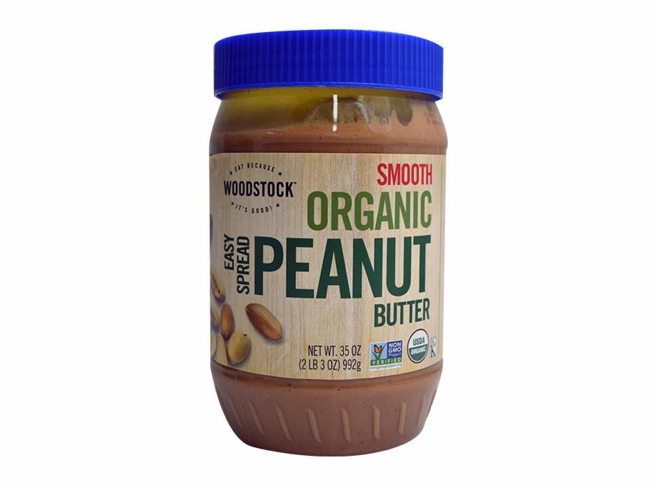 Woodstock Farms Peanut Butter Smooth Easy Spread Jar.