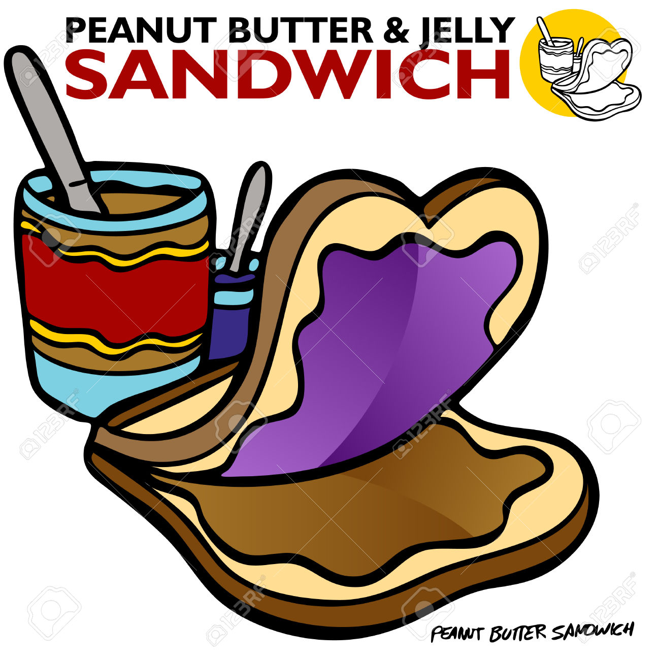 An Image Of A Peanut Butter Jelly Sandwich. Royalty Free Cliparts.