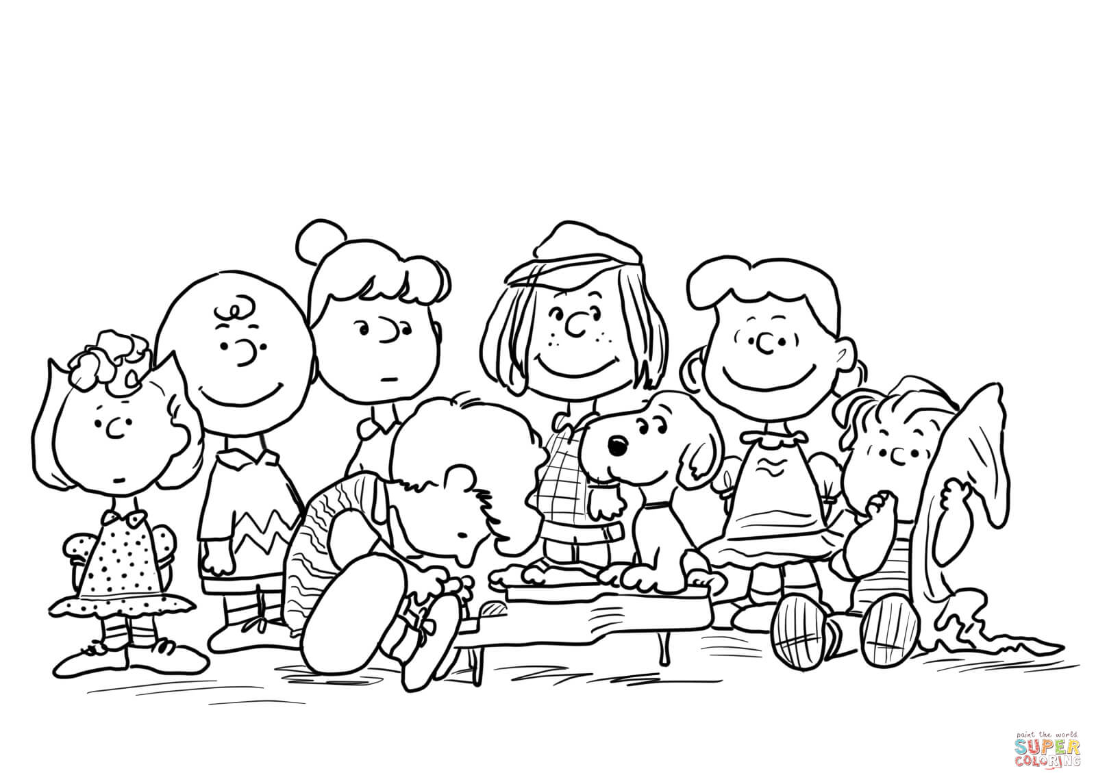 Peanuts Characters coloring page.