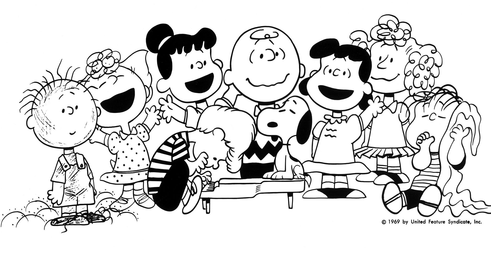 peanuts characters coloring pages - peanut character clipart black and white clipground