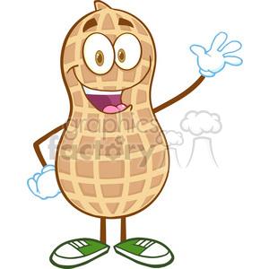 6597 Royalty Free Clip Art Happy Peanut Cartoon Mascot Character Waving For  Greeting clipart. Royalty.