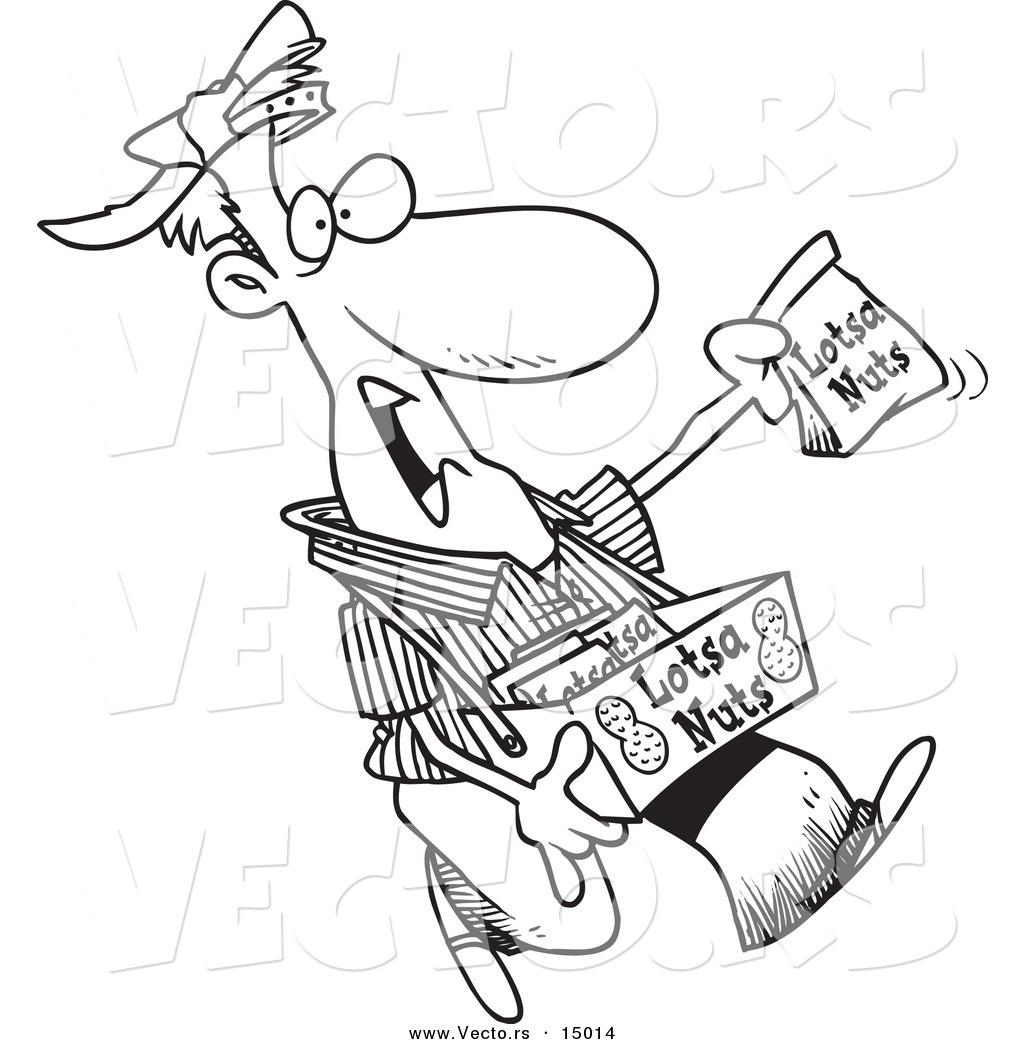 Vector of a Cartoon Nut Vendor Holding up a Bag.
