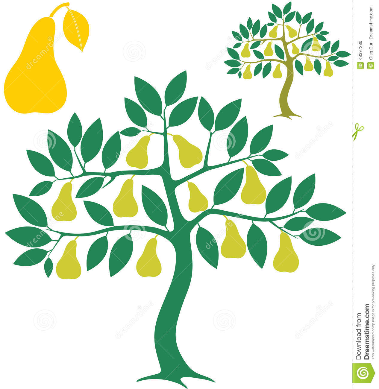 Pear Tree Stock Vector.