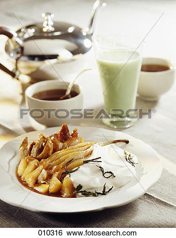 Stock Images of Pear compote with tea fromage blanc and green.