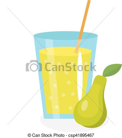 Clip Art Vector of Pear juice in a glass. Fresh isolated on white.
