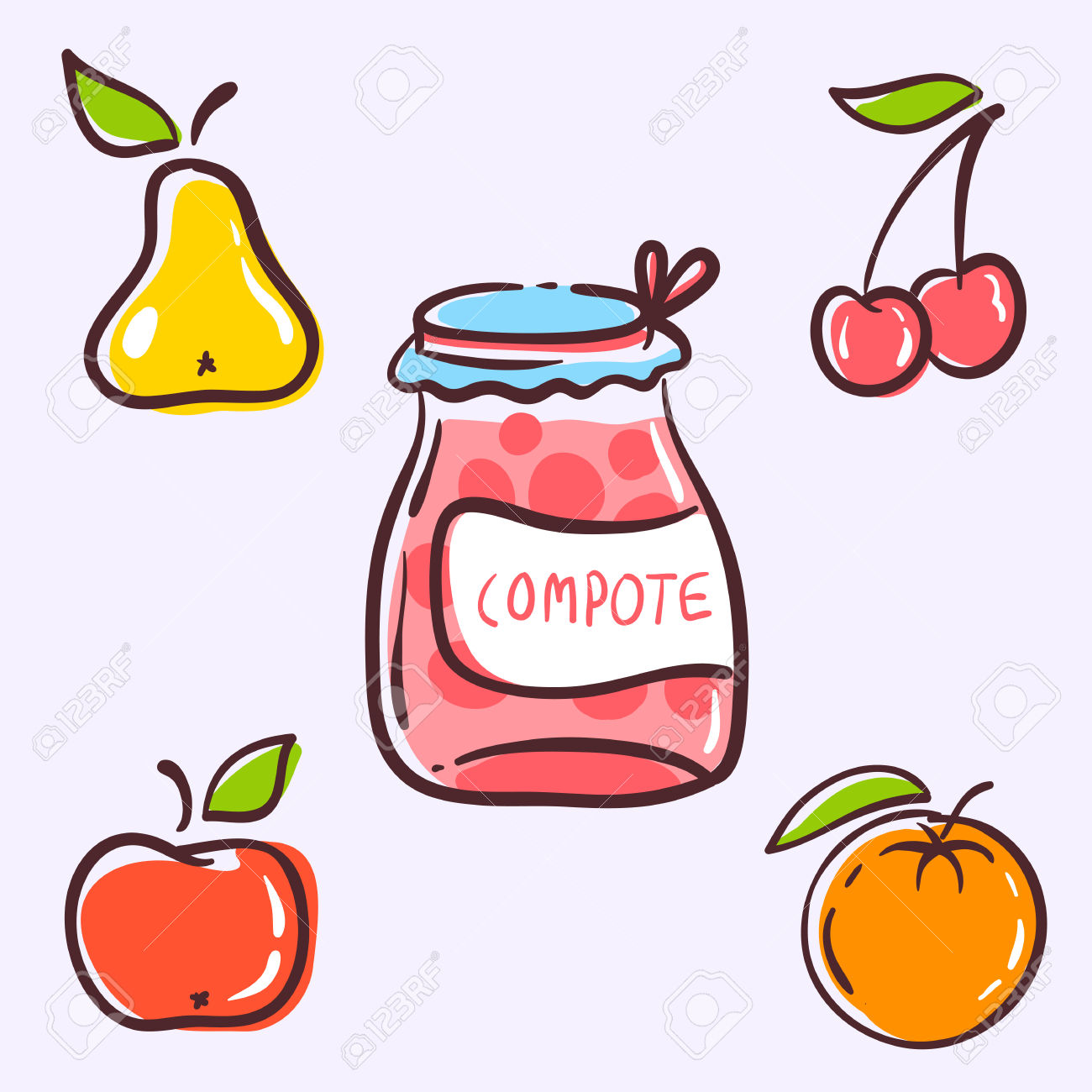 The Compote Fruits Components Consist Of Red Apple, Yellow Pear.