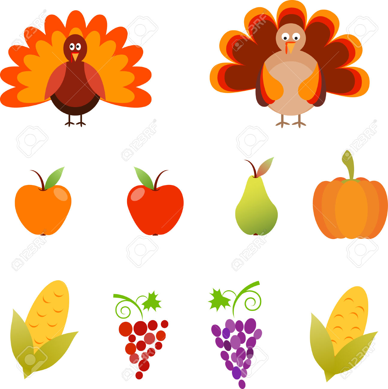 Turkey, Isolated Thanksgiving Turkey Vectors, Apples, Pear.