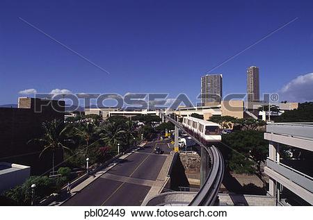 Stock Photograph of Monorail, Pearlridge Center, Pearl City, Oahu.