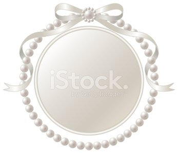 Frame and Pearl Ribbon of Silver premium clipart.