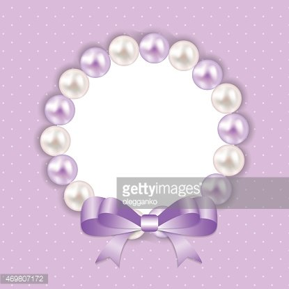 Vintage Pearl Frame with Bow Background. Vector Illustration.