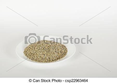Stock Image of Bajra (Pearl millet) in a white plate on a white.
