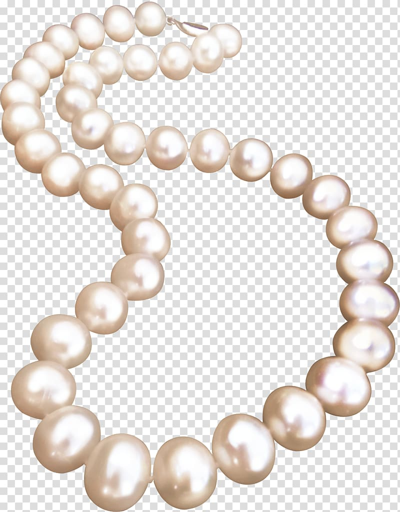 Beaded white necklace illustration, Pearl necklace Jewellery.