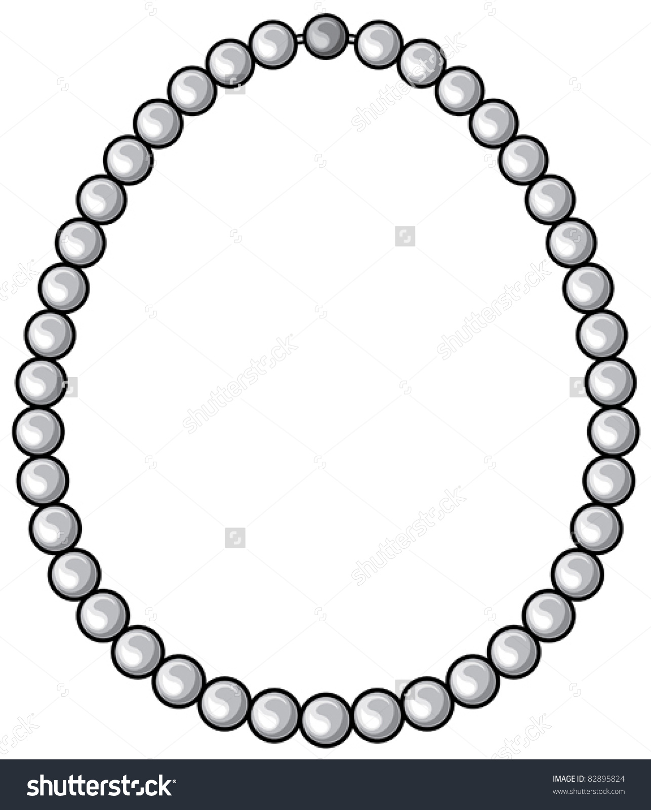 Pearl Necklace Stock Vector 82895824.