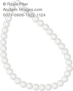 Clip Art Illustration Of A White Pearl Necklace.